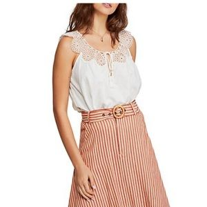 Free People white sleeveless embroidered blouse